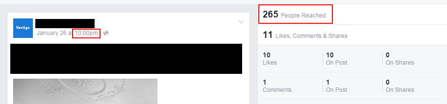 Screenshot of Facebook post, posted at 10:00pm reaching 265 people.