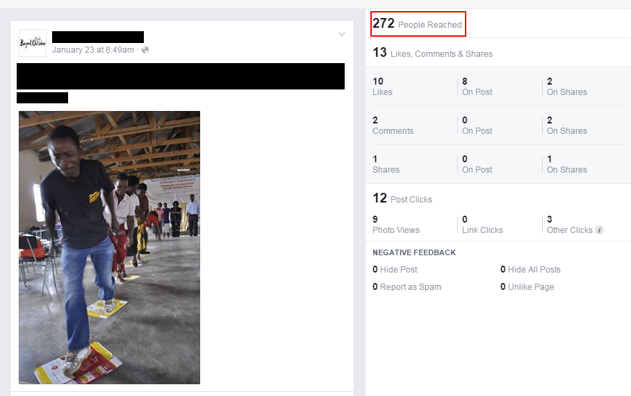 Screenshot of Facebook post reaching 272 people.