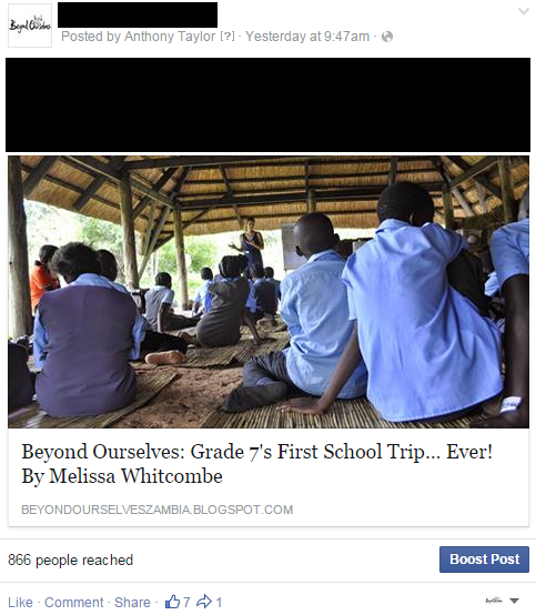 Screenshot showing Facebook post with image and customised headline.