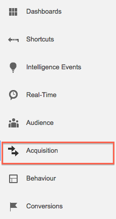 Screen grab of the Acquisition link in Google Analytics