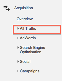 Screenshot of the All Traffic link in Google Analytics