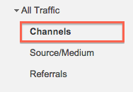 Screenshot of the Channels link in Google Analytics
