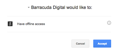 Screenshot showing Baracuda Digital asking for permission to offline access
