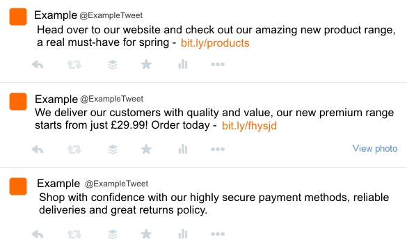 Example of an overly-promotional twitter feed.