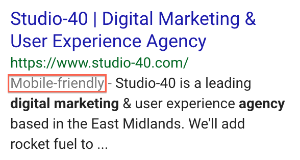 'mobile-friendly' label that appears on mobile SERPs