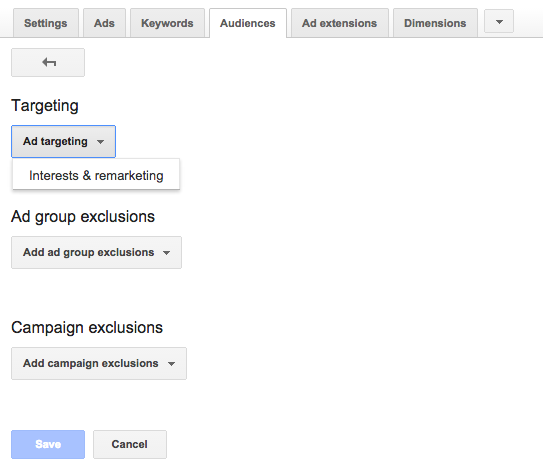 Screenshot showing Ad Targeting settings