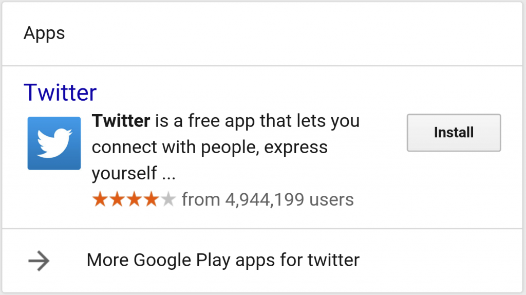 Twitter App appearing in mobile SERPs