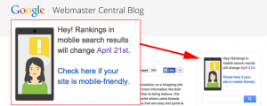 Google mobile search results notice