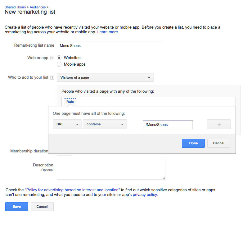 Adwords Remarketing List - 1