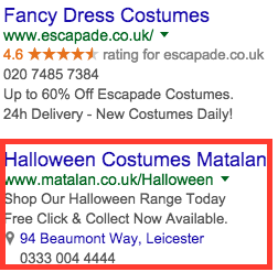 relevant adwords ads