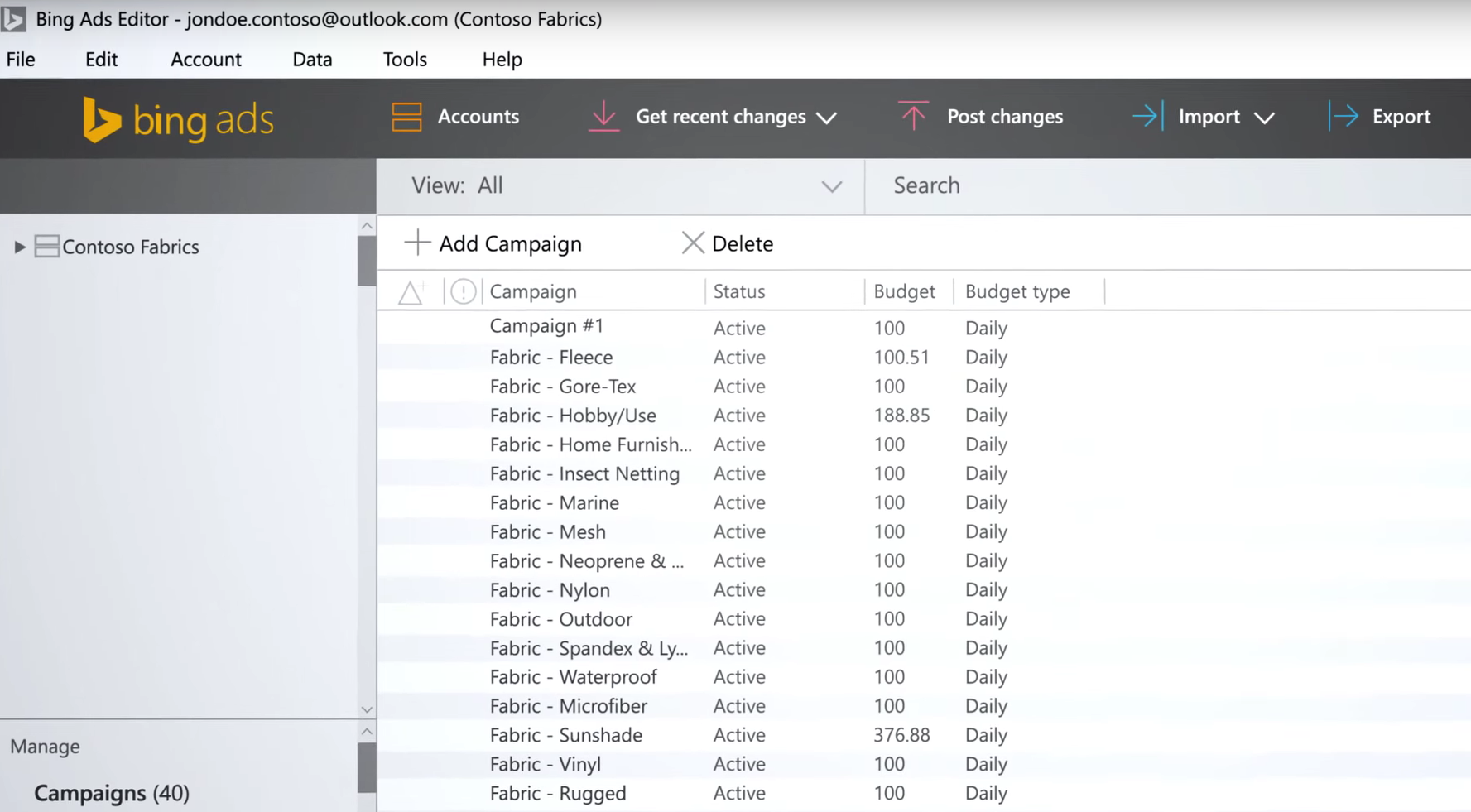 Bing Ads Editor PPC tool