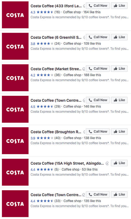 Costa Multiple Facebook Pages