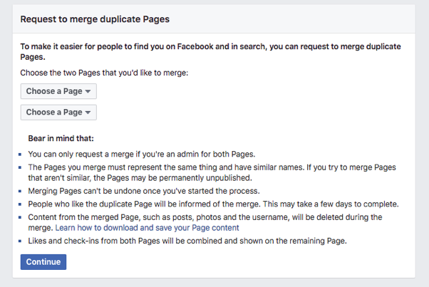 Facebook Page Merge Guide Step 1