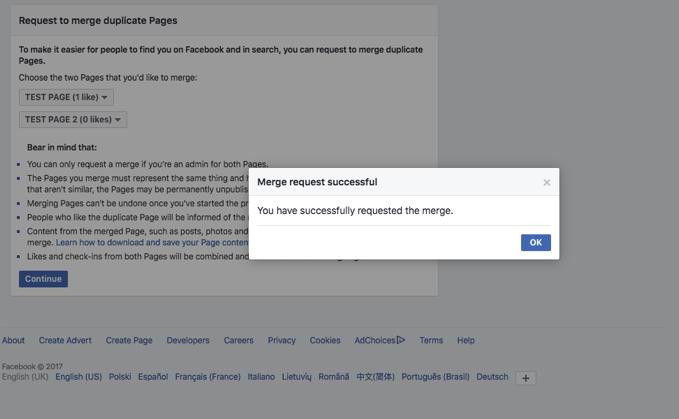 Facebook Page Merge Guide Step 3