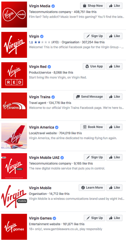 Virgin Multiple Facebook Pages
